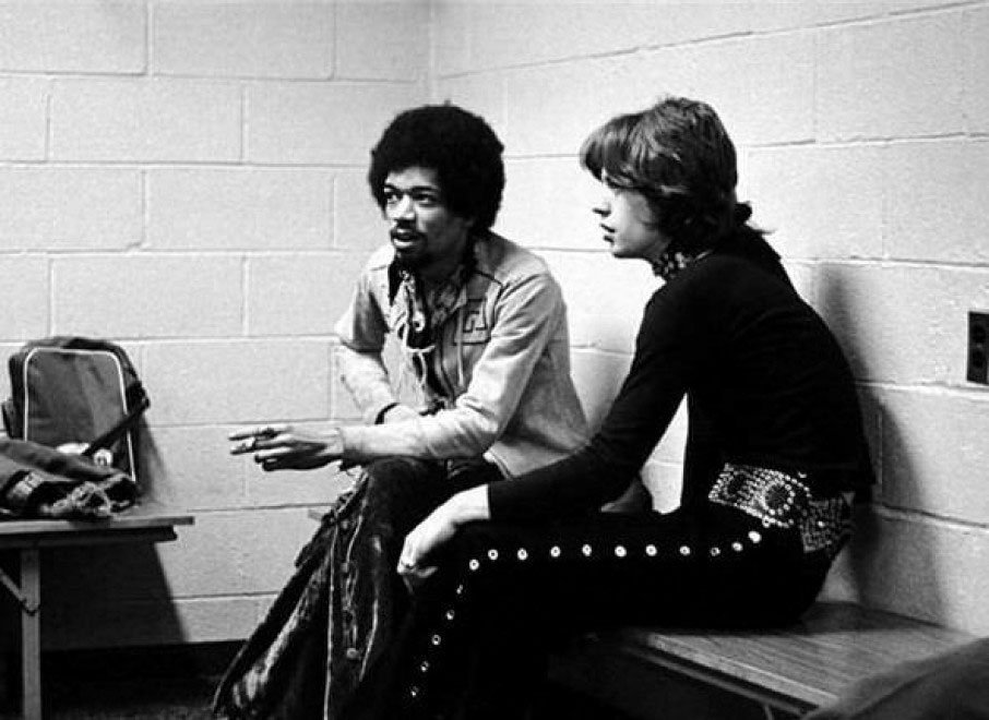 Jimi Hendrix and Mick Jagger - 1969