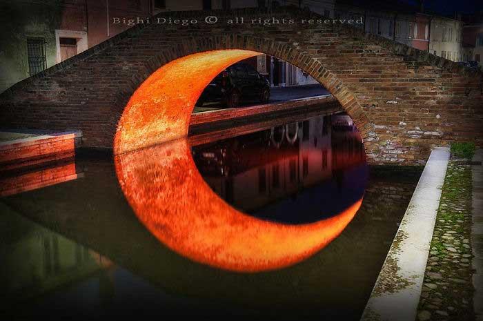 Fotografia di Bighi Diego, riflesso della Luna nel fiume