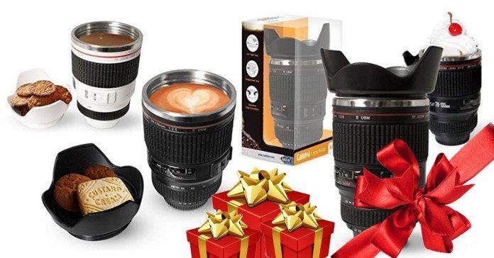 Tazza obiettivo per fotografi che può contenere caffe, gelato, etc