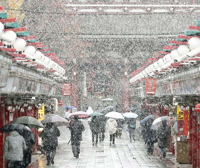 Tokyo con la neve di Kyodo