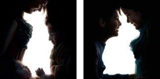 Fotografia con illusione ottica per pruovere le adozioni