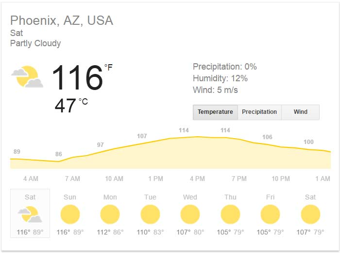 Caldo in Arizona Meteo