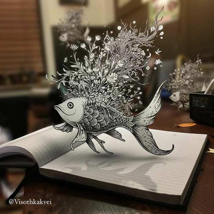 Disegni 3D dell'artista Visoth Kakvei