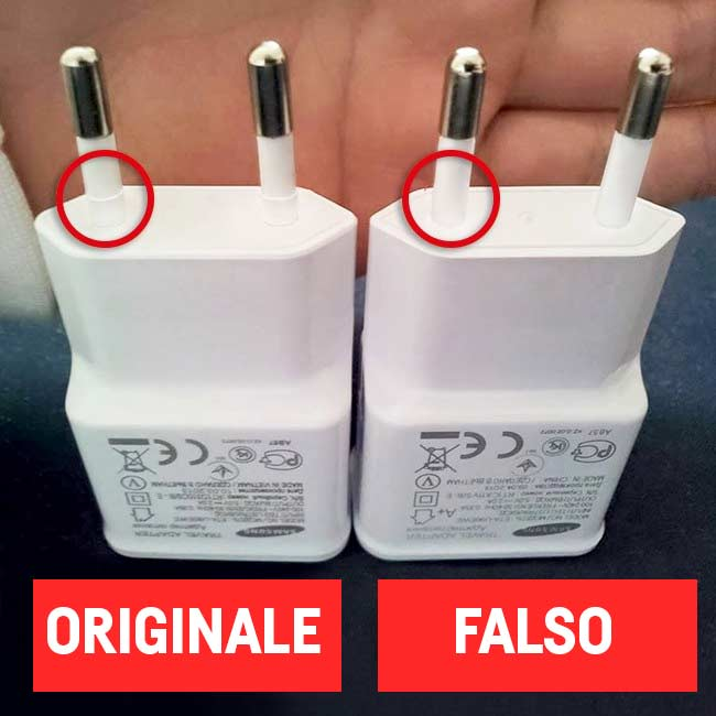Riconoscere un caricabatterie falso