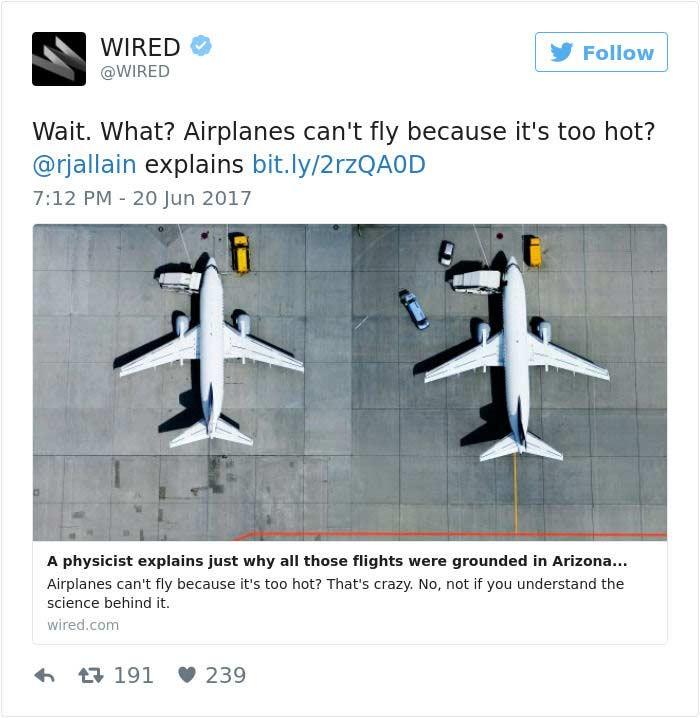 Aereo che non vola per il caldo