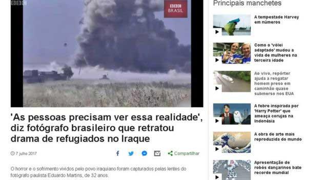 Eduardo Martins utilizzato come fotoreporter di guerra