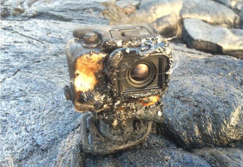 GoPro bruciata dalla lava