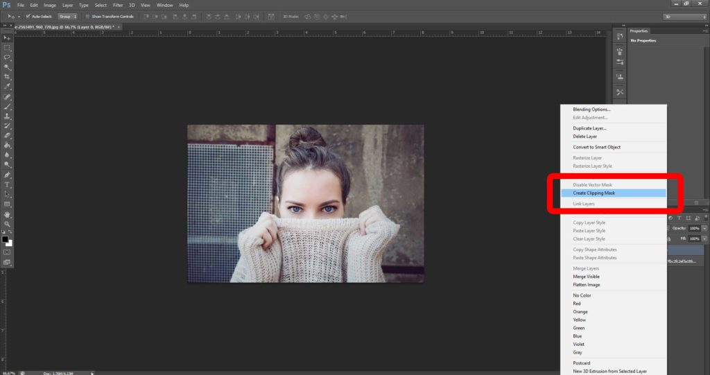 Effetto vintage con Photoshop: Create Clipping Mask