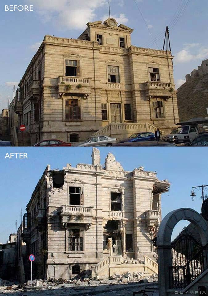 Vecchio edificio per l'immigrazione e il passaporto di fronte alla cittadella di Aleppo