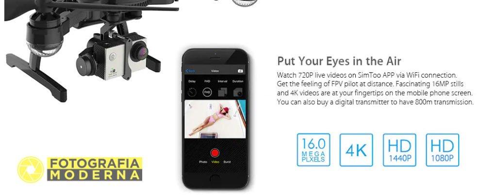 Applicazione per vedere sullo smartphone in Live View il drone Simtoo Dragonfly Pro