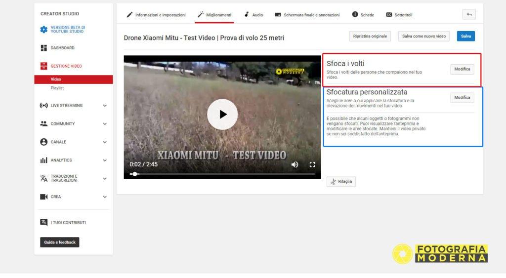Sfocare volti nei video su youtube