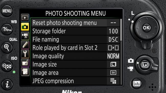 Menu delle impostazioni Nikon D7200