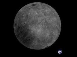 La foto dal satellite cinese della terra con il lato nascosto della luna