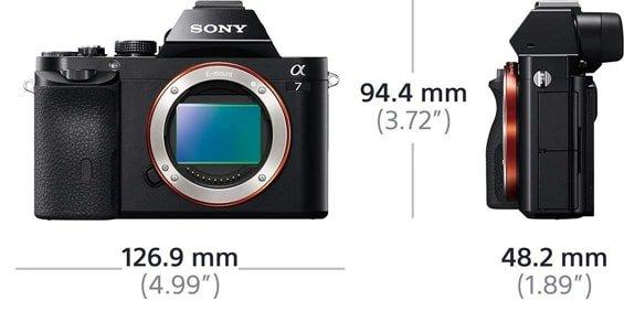 Dimensioni della fotocamera Sony Alpha 7