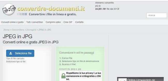 Convertire file Jpeg o Jpg con un programma da browser