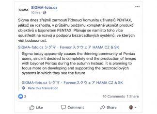 Sigma stoppa produzione obiettivi Pentax